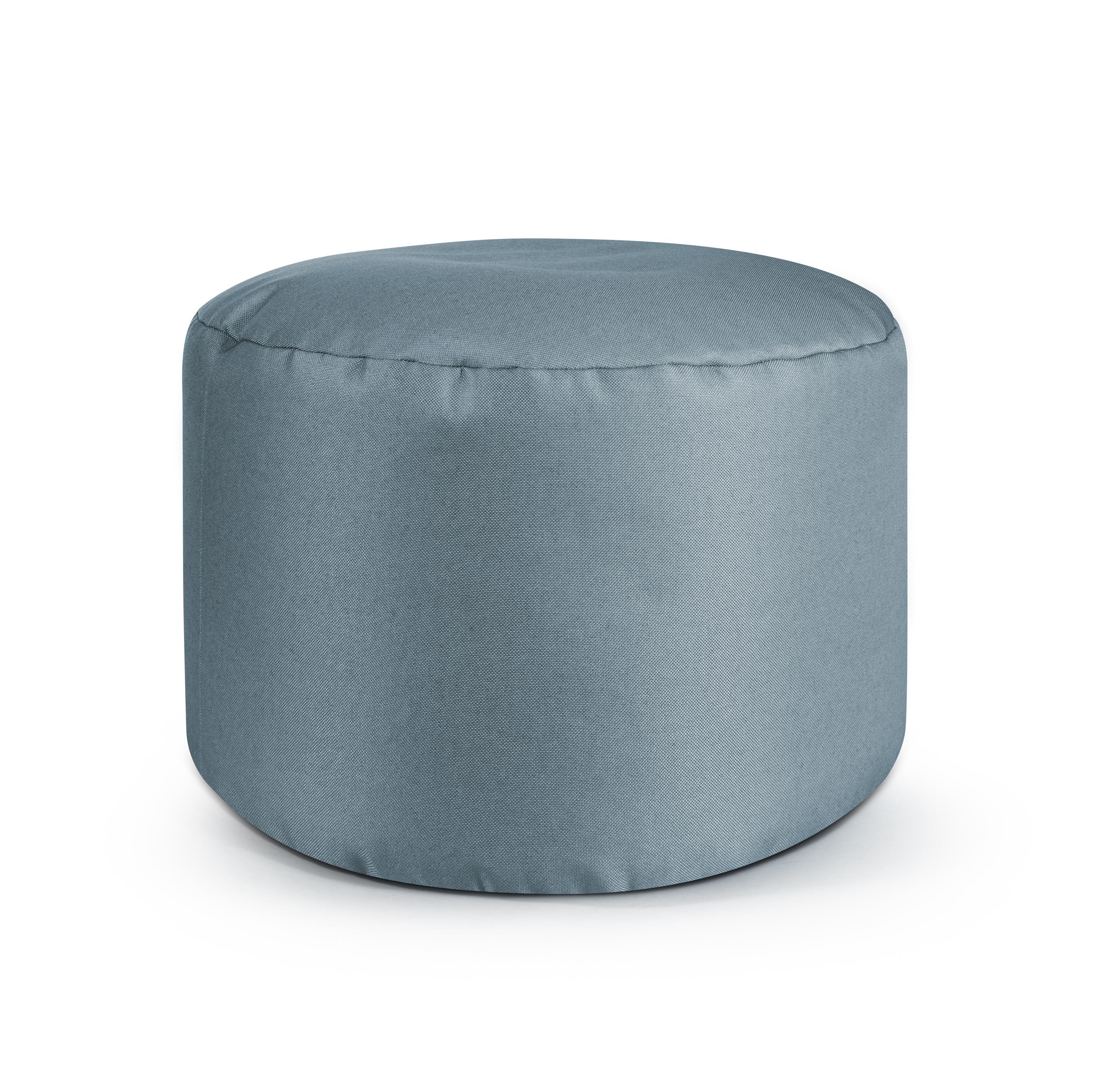 Repose pieds d'intérieur rond en toile design uni gris bleu 30x50