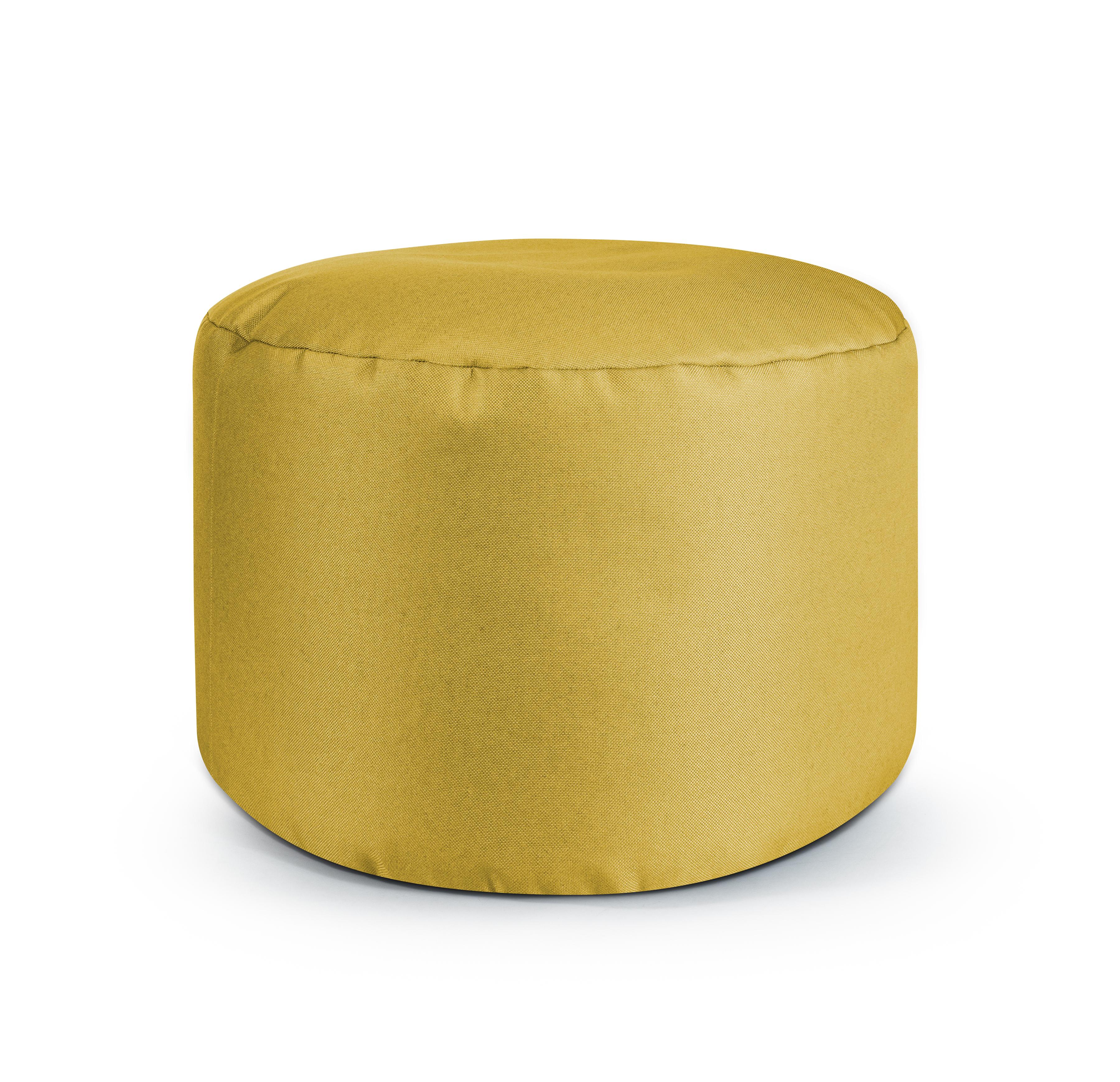 Repose pieds d'intérieur rond en toile design uni moutarde 30x50