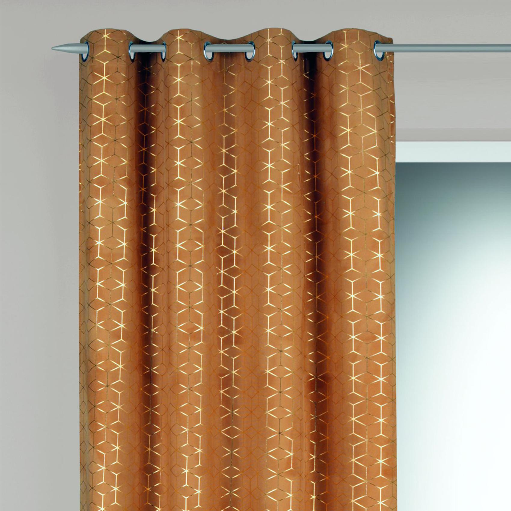 Rideau en velours motifs géométriques dorés polyester safran 245x135