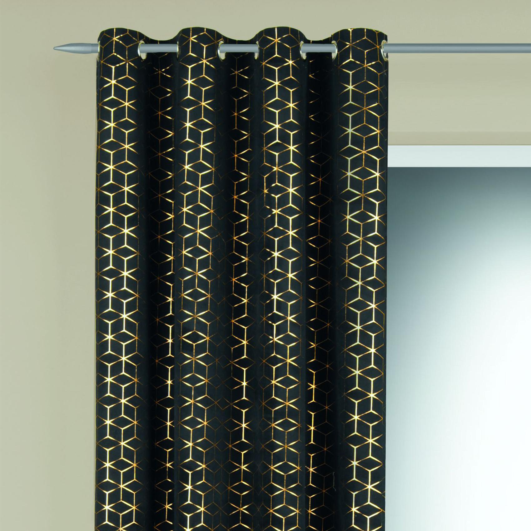 Rideau en velours motifs géométriques dorés polyester noir 245x135