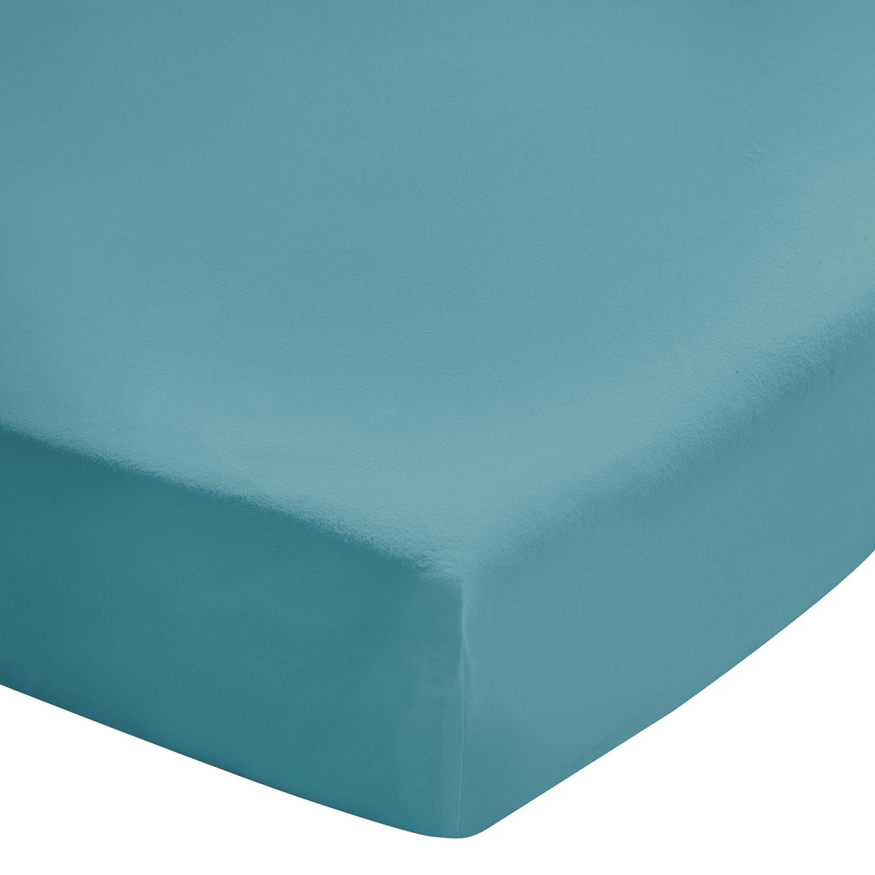 Drap housse uni en coton lavé bleu Cascade 140x200