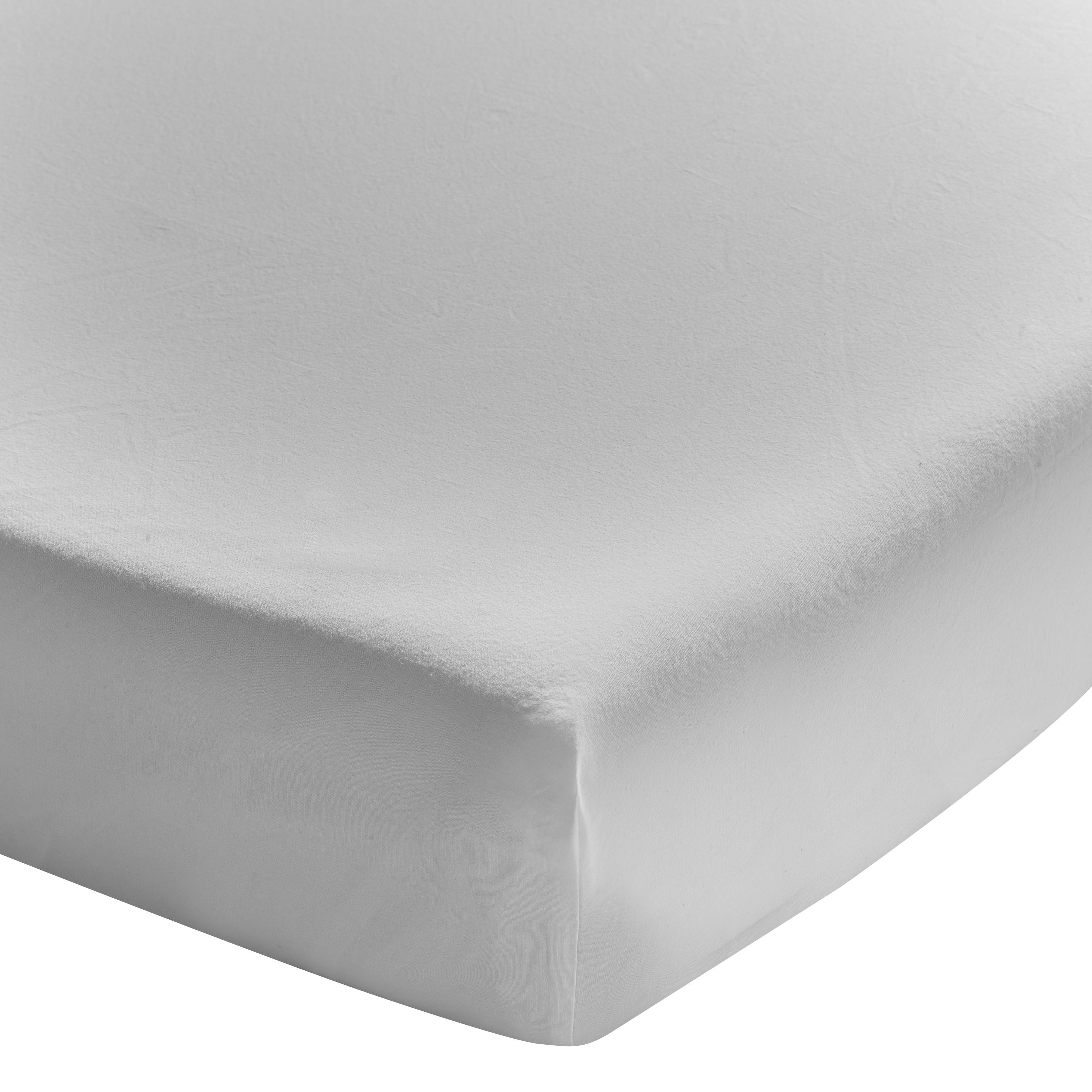 Drap housse uni en coton lavé gris Mastic 140x190