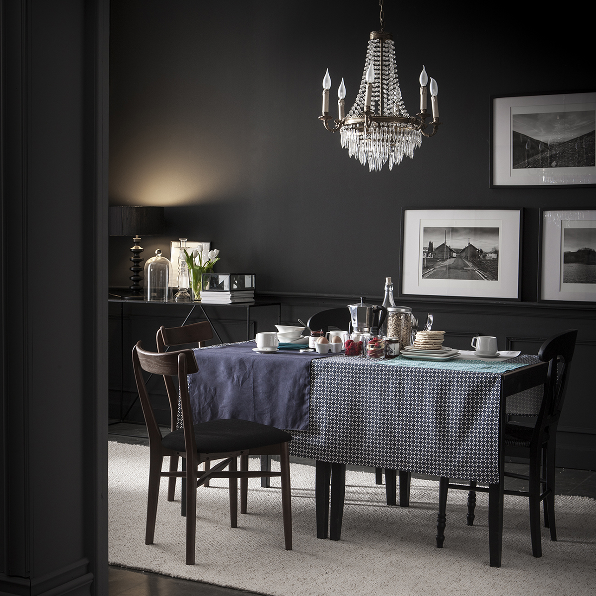 Chemin de table en coton bleu 55x140