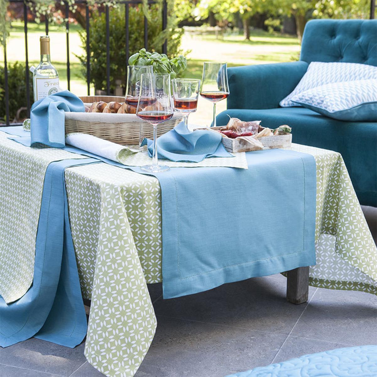 Chemin de table en coton vert basilic 55x140
