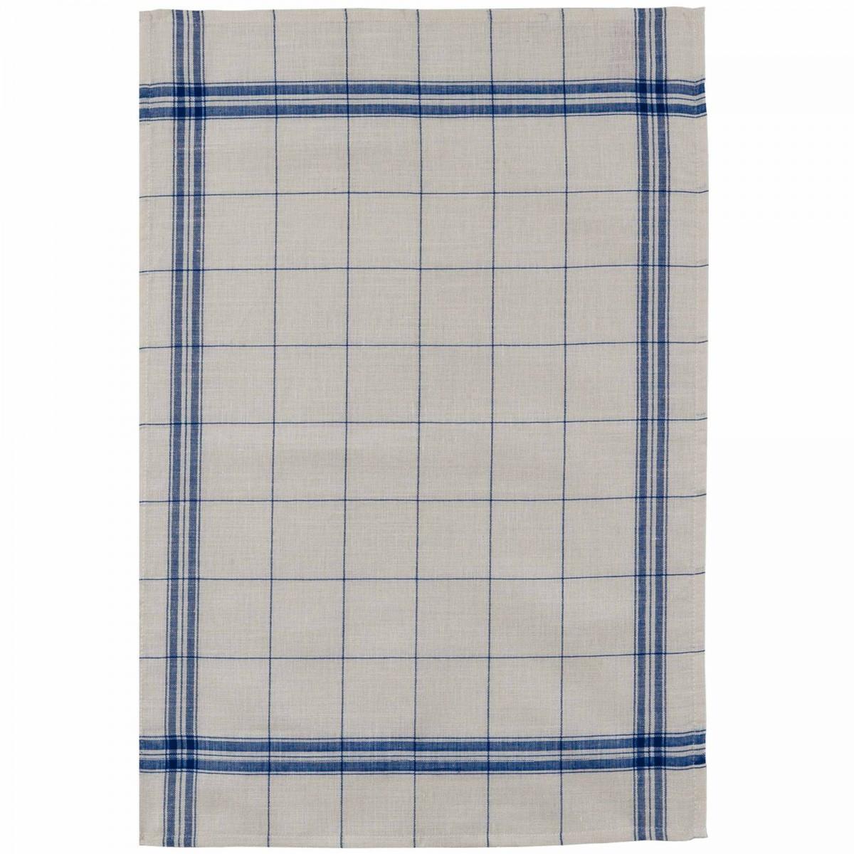 Torchon en lin bleu 50x75