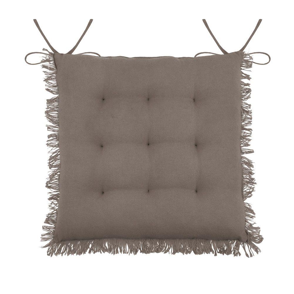 Coussin de chaise en coton taupe 40x40