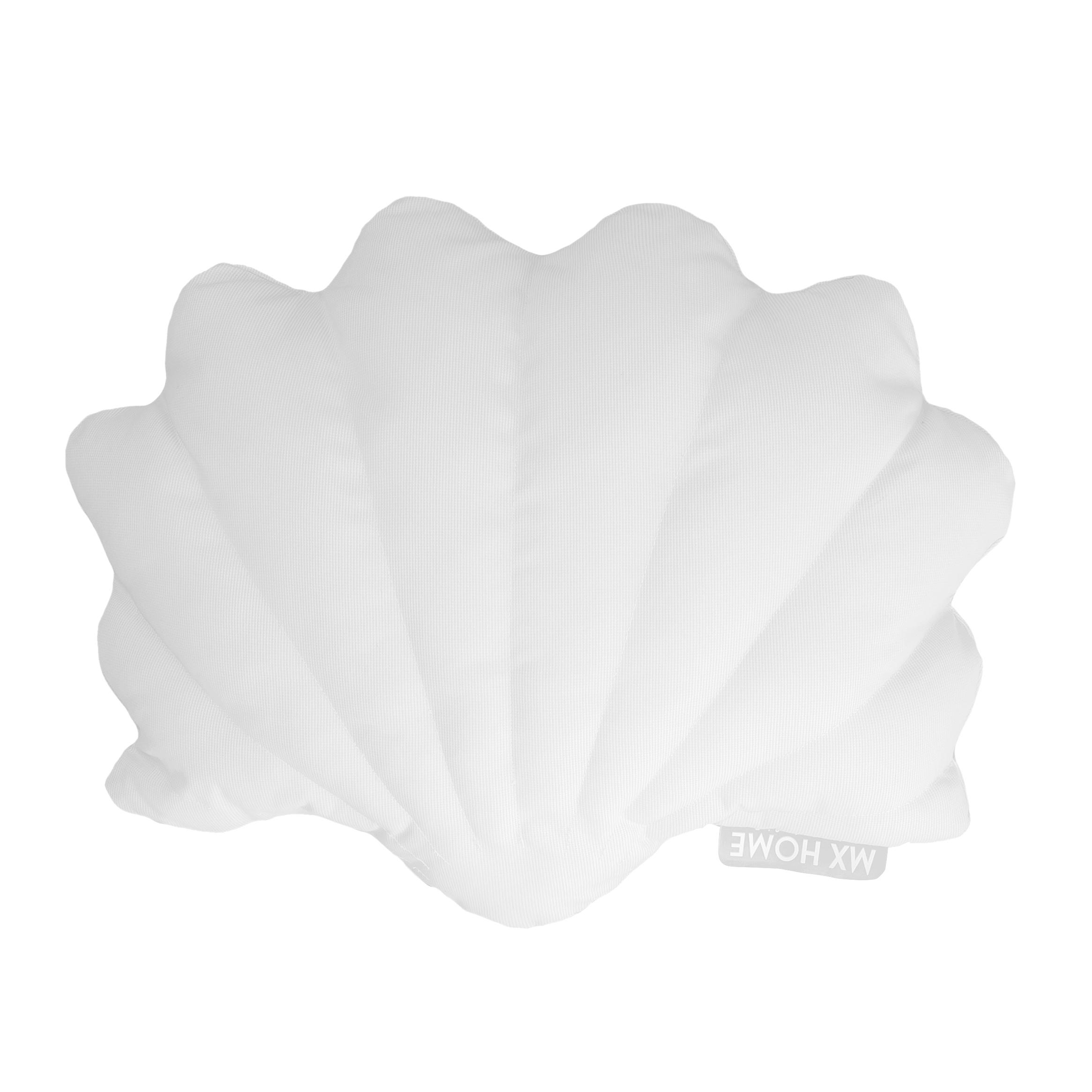Coussin extérieur coquillage blanc