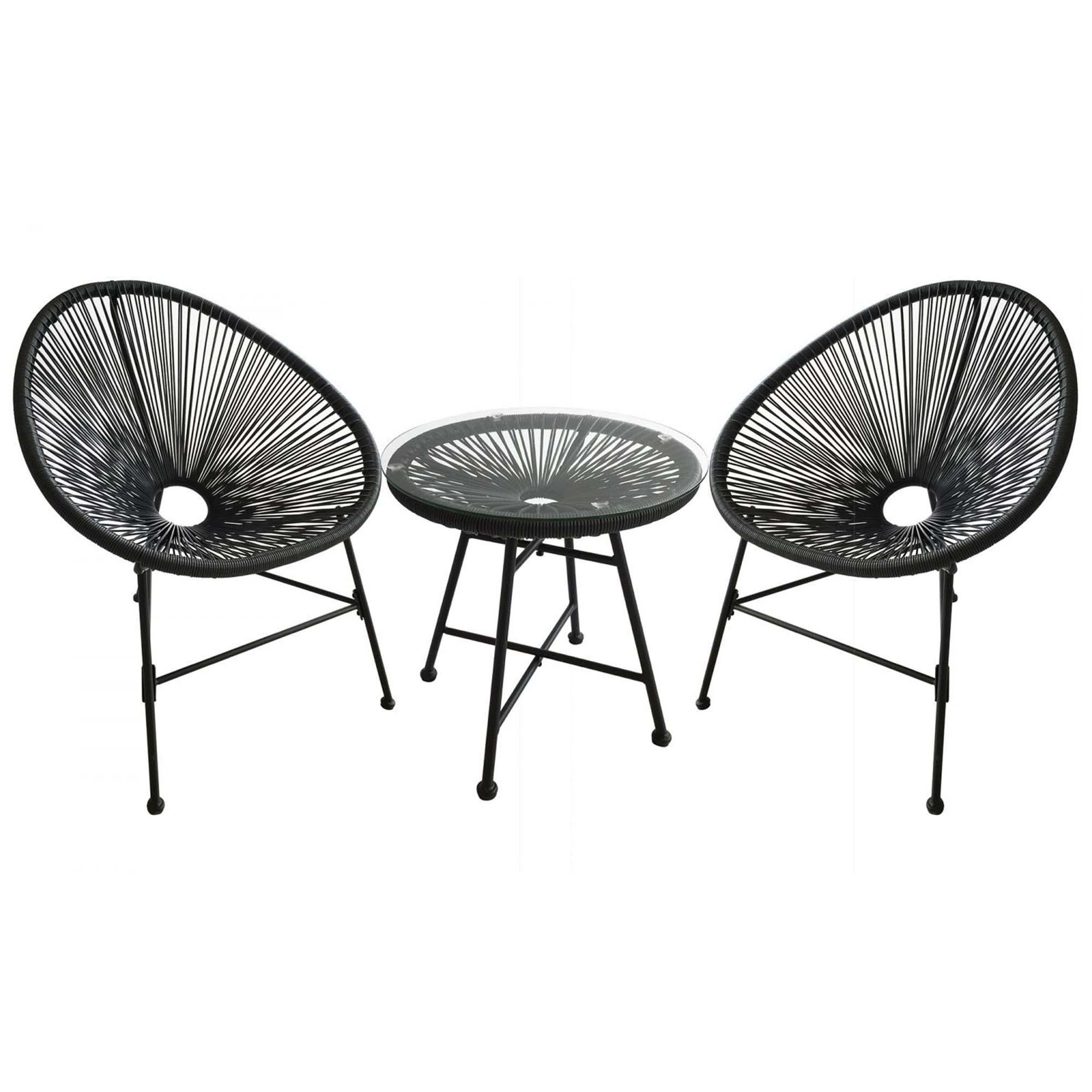 Salon de jardin 2 fauteuils ronds et table basse gris