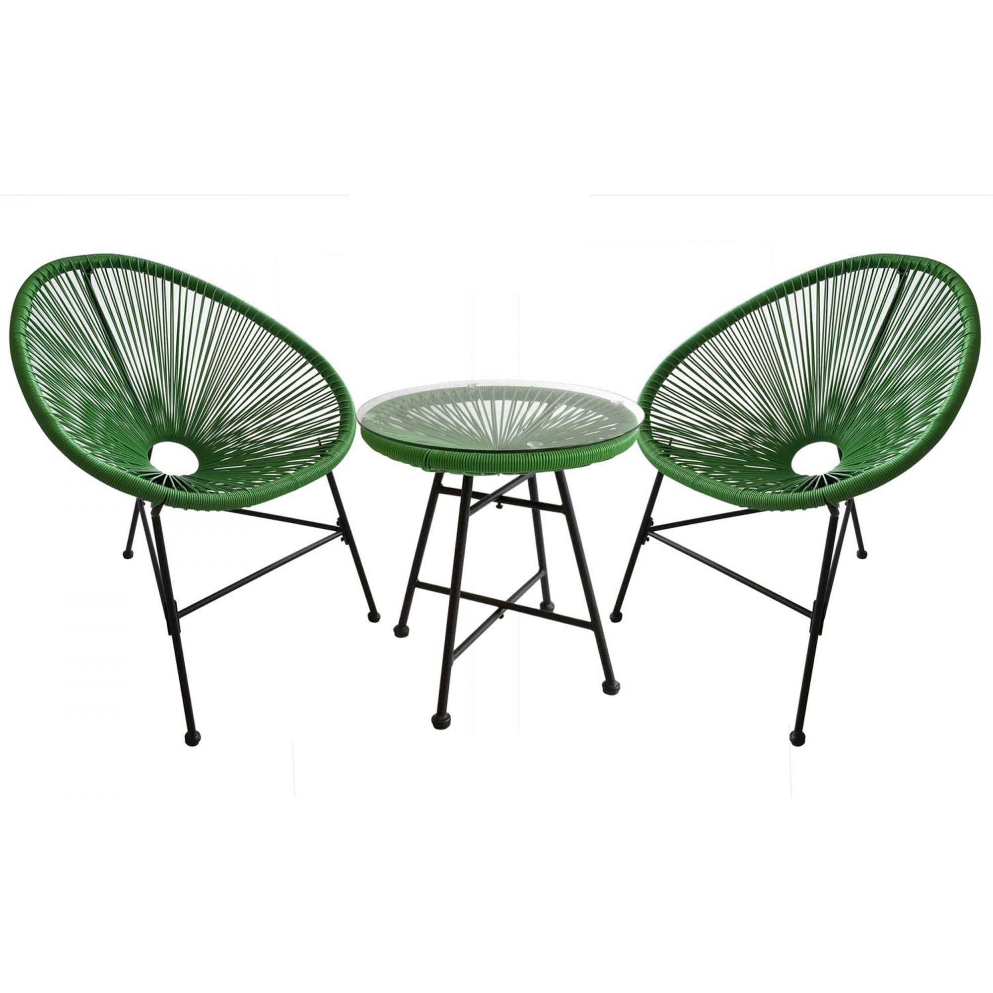 Salon de jardin 2 fauteuils ronds et table basse vert