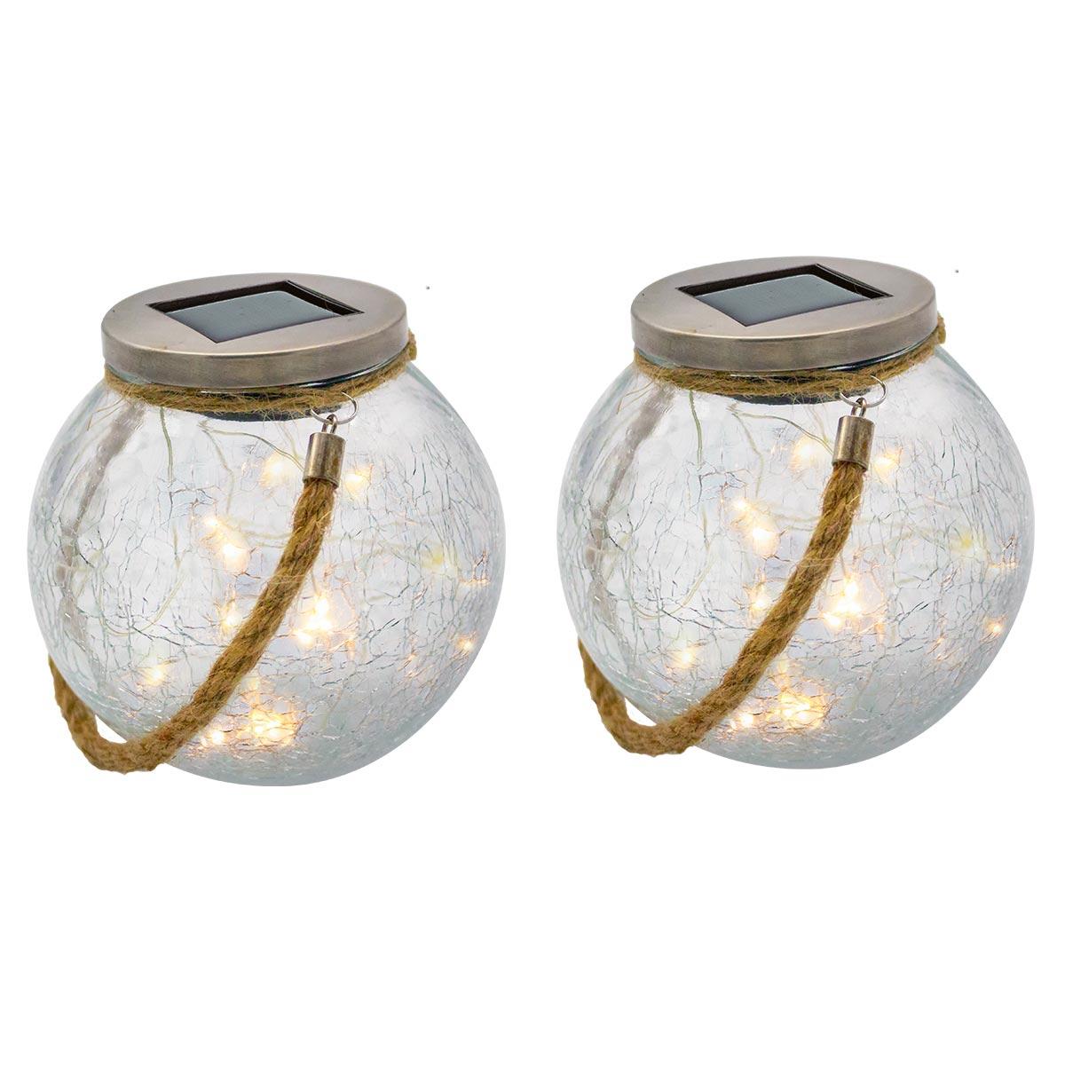 CRACK BALL CORD - Lot de 2 boules solaires verre transparent H13cm