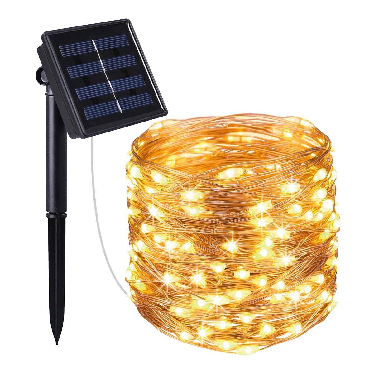 Guirlande solaire 100 leds plastique noir 11.90m