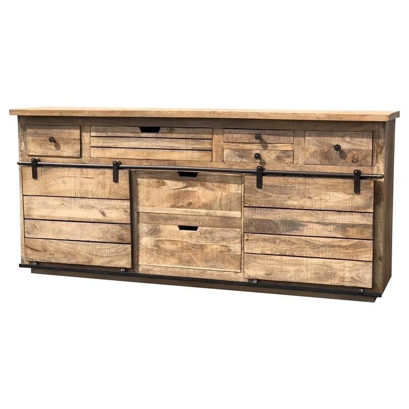 Grand buffet industriel en bois avec tiroirs et porte coulissante