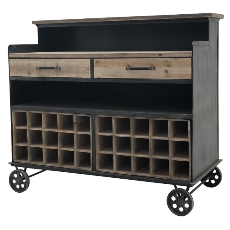 Style ancien bar comptoir en fer et bois 110x124