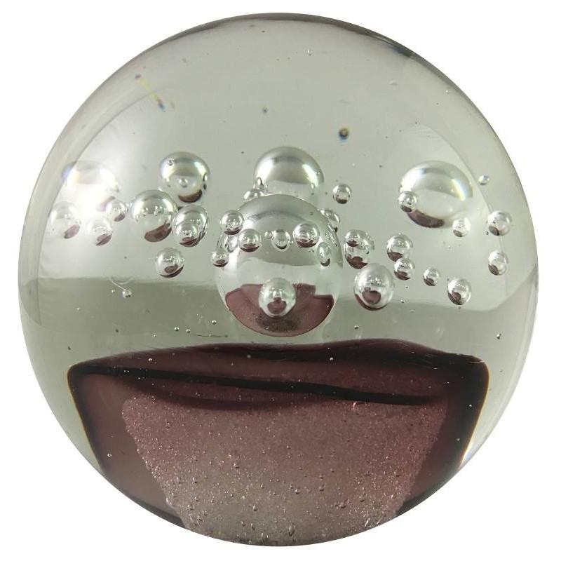 Presse-papier petite bulle en verre pourpre D10