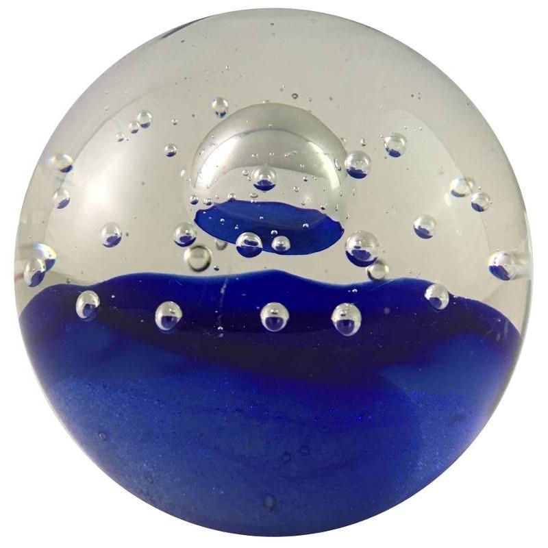Presse-papier bulle bleu en verre D8.5
