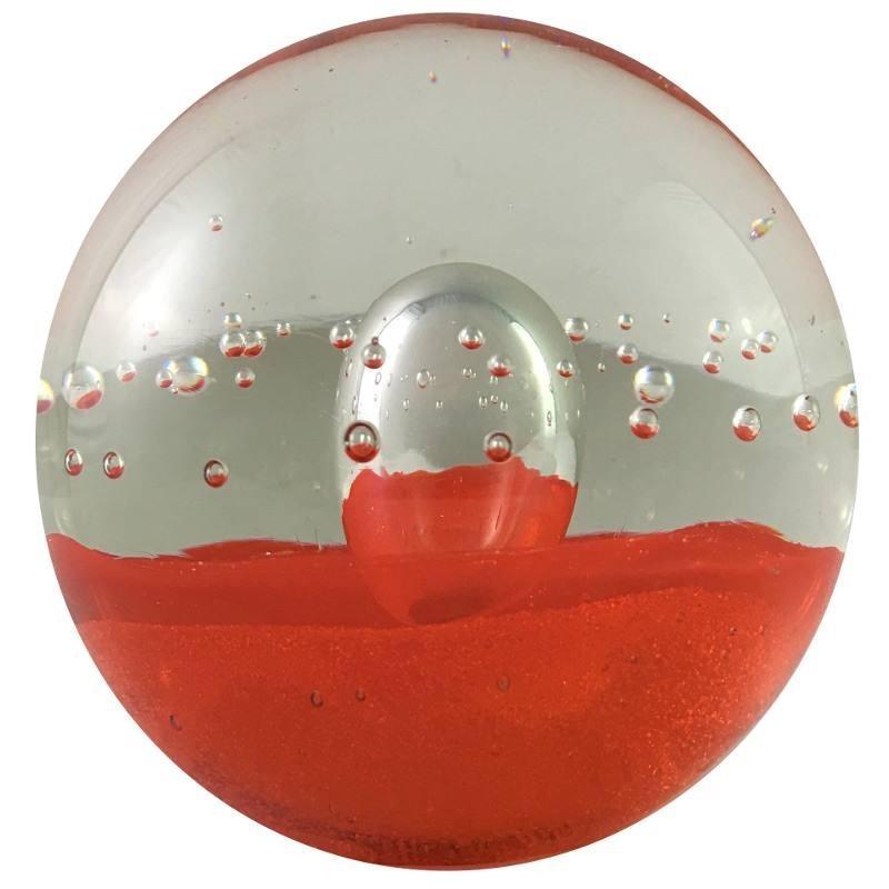 Presse-papier bulle rouge en verre D8.5