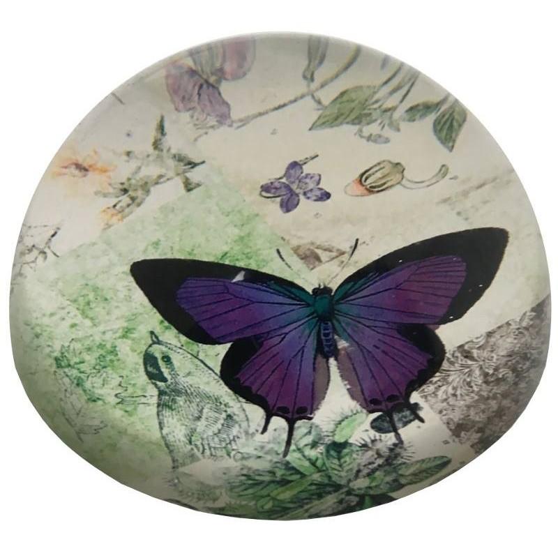 Presse-papier papillon bombé en verre D9.50
