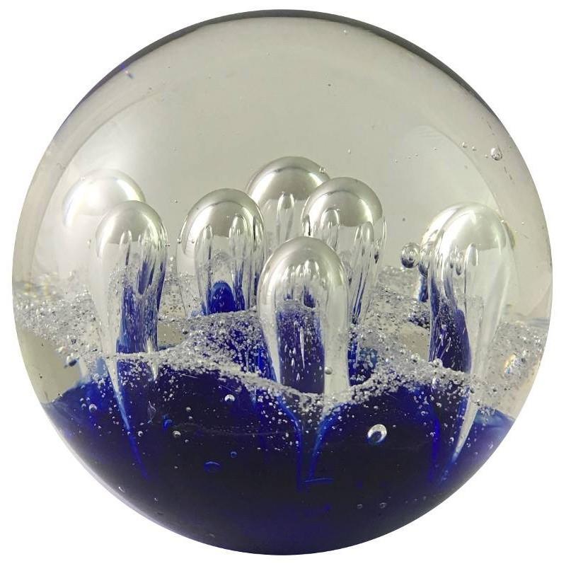 Presse-papier sulfure en verre bleu D10