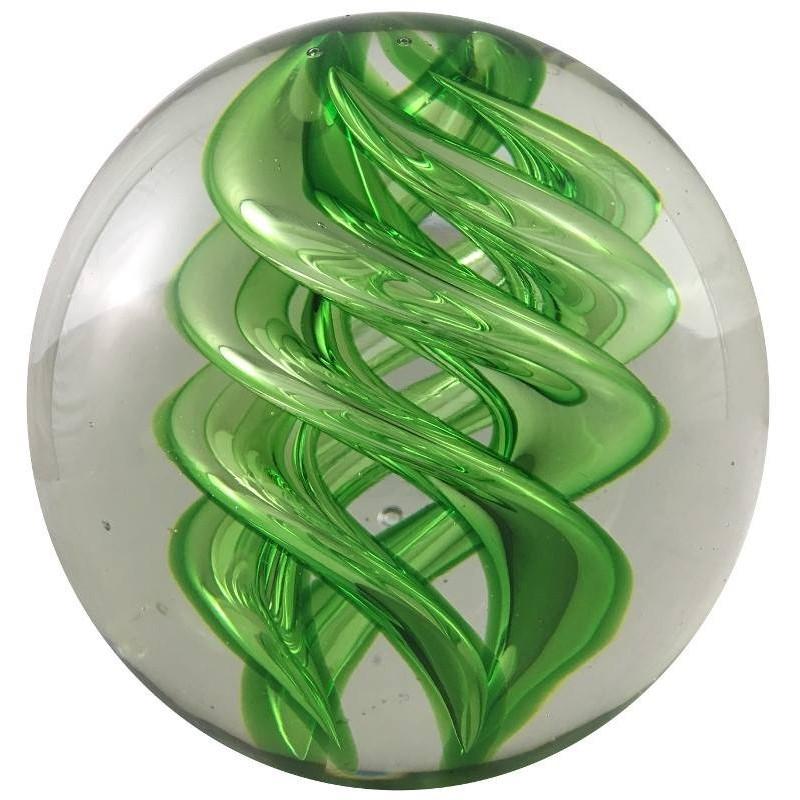Presse-papier boule en verre vert D10