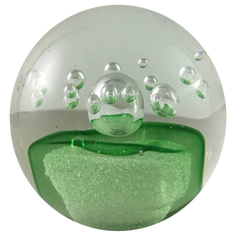 Presse-papier bulle verte en verre D8.5