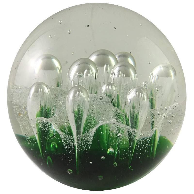 Presse-papier sulfure en verre vert D10