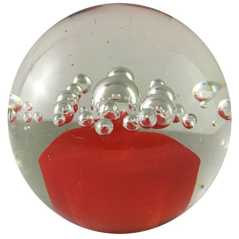 Presse-papier petite bulle orange en verre D10