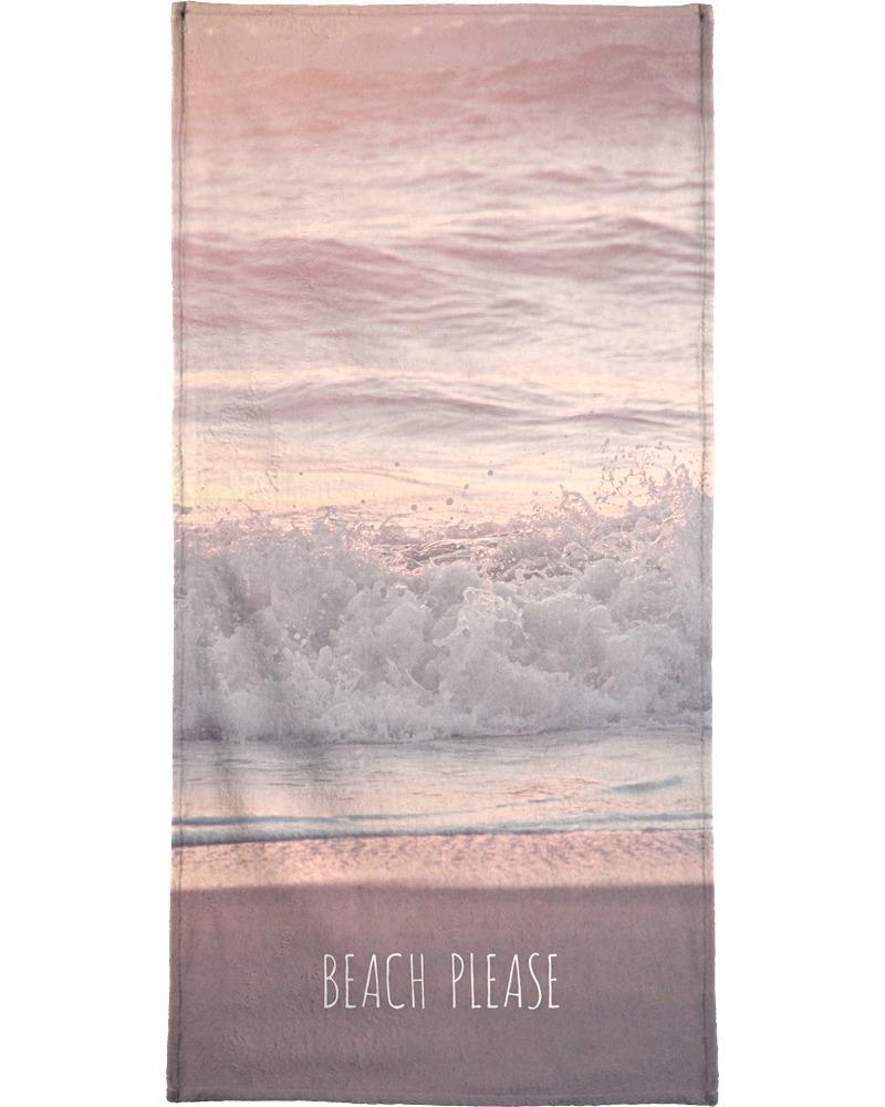 Serviette de plage en éponge-velours en Gris & Rose/90x180
