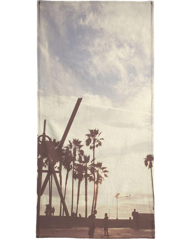 Serviette de plage en éponge-velours en Blanc ivoire & Noir/90x180