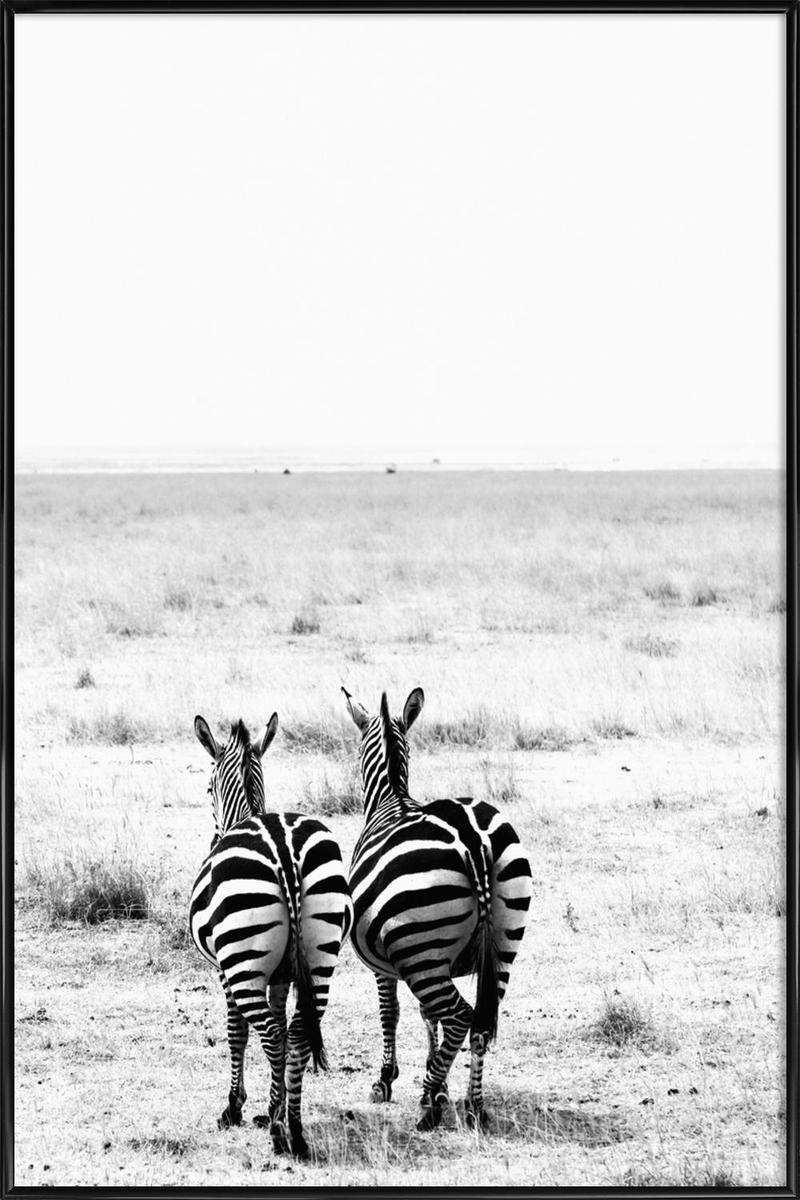 Affiche avec cadre standard (Noir) en Blanc & Noir/60x90