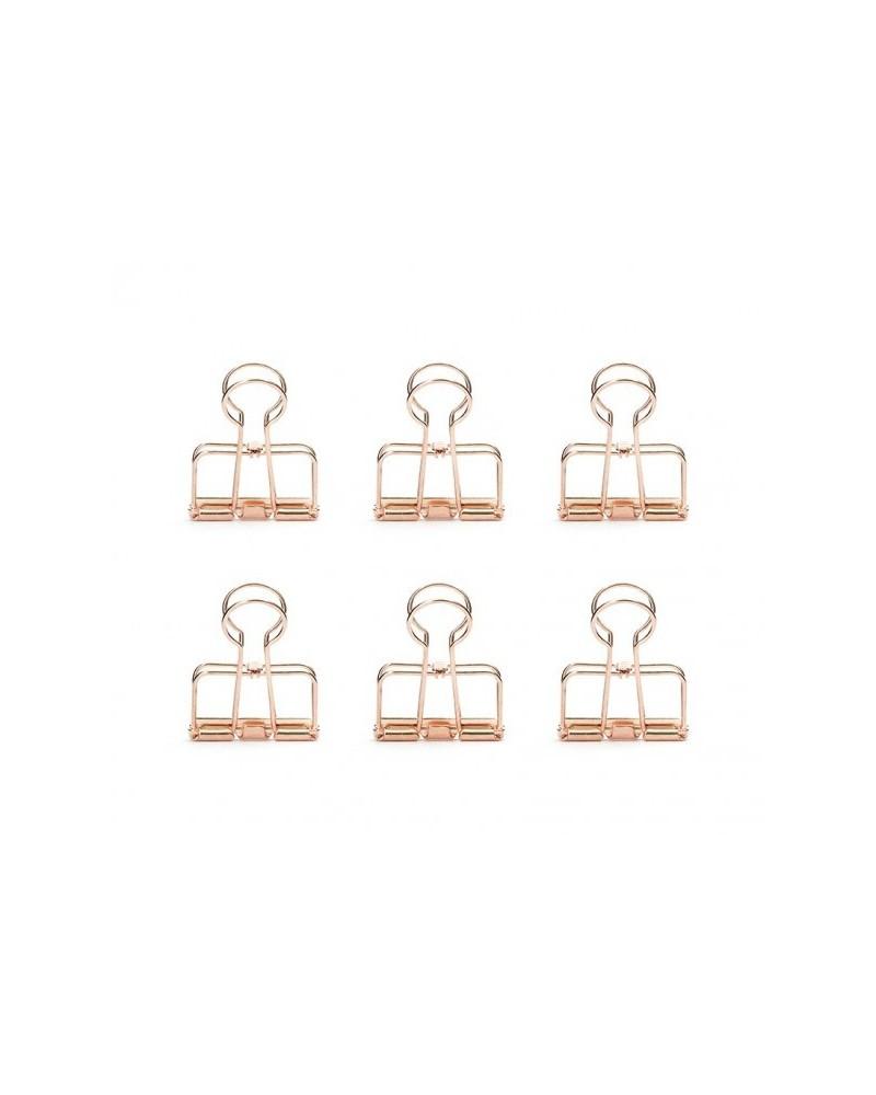 Pinces double-clip cuivrées - Lot de 6