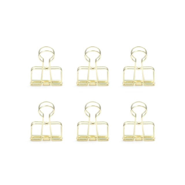 Pinces double-clip dorées - Lot de 6
