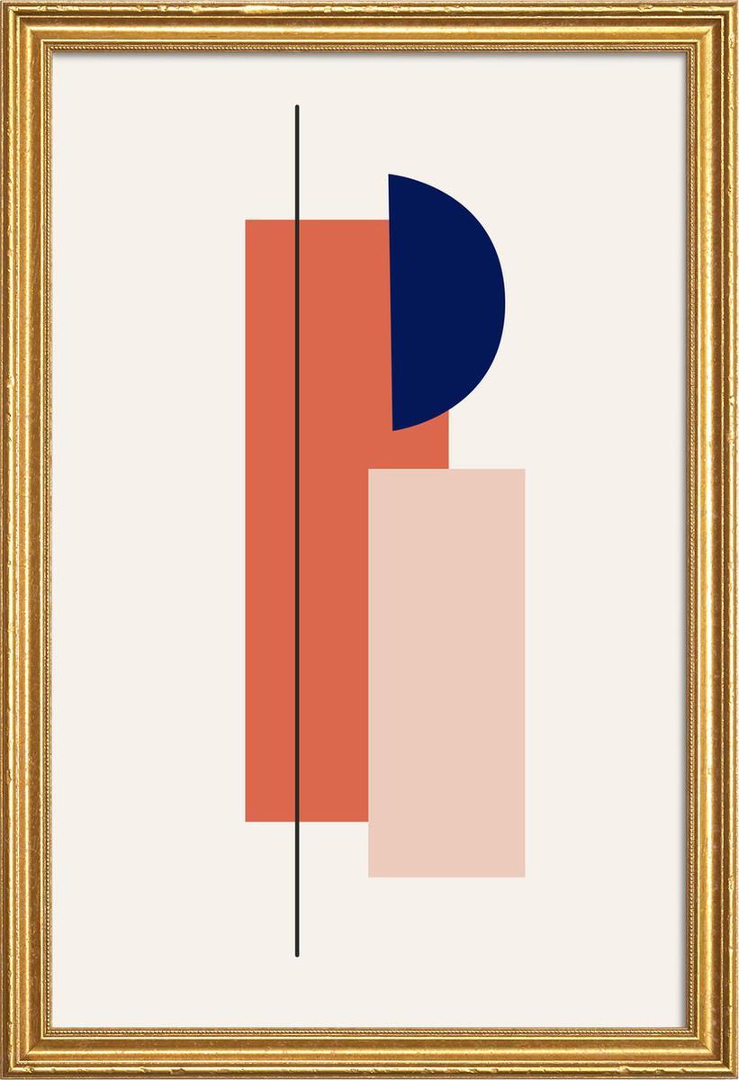 Affiche avec cadre en bois (Doré) en Multicolore/20x30