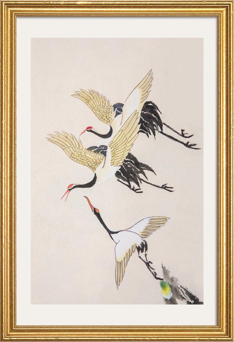 Affiche avec cadre en bois (Doré) en Blanc ivoire & Gris/40x60