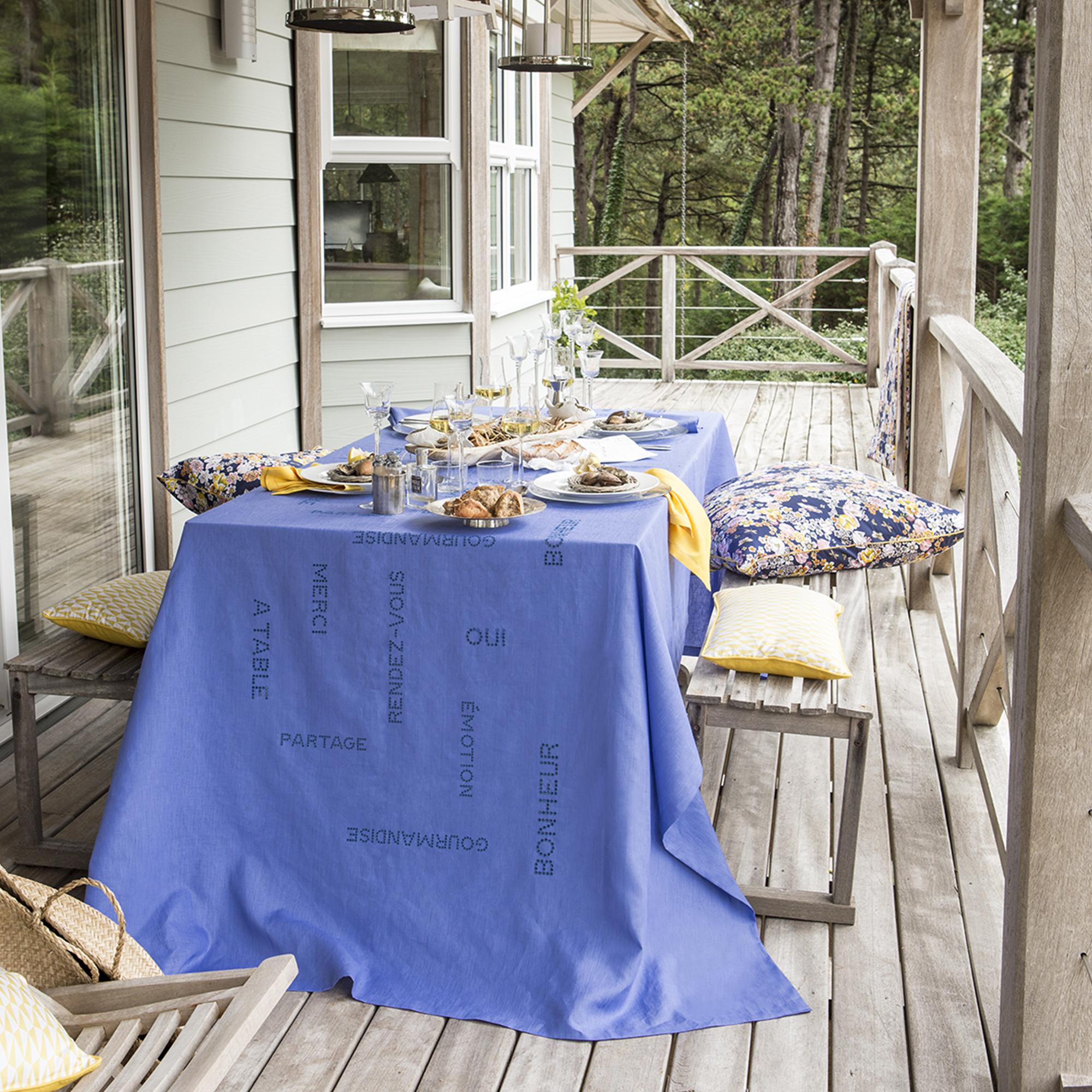 Chemin de table en lin bleu horizon 50x150