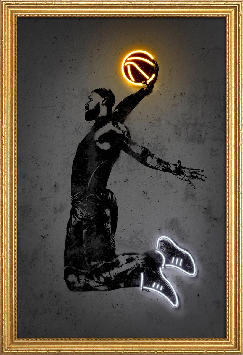 Affiche avec cadre en bois (Doré) en Noir/60x90