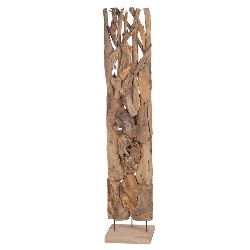 Sculpture racine en teck sur pied H 200 cm