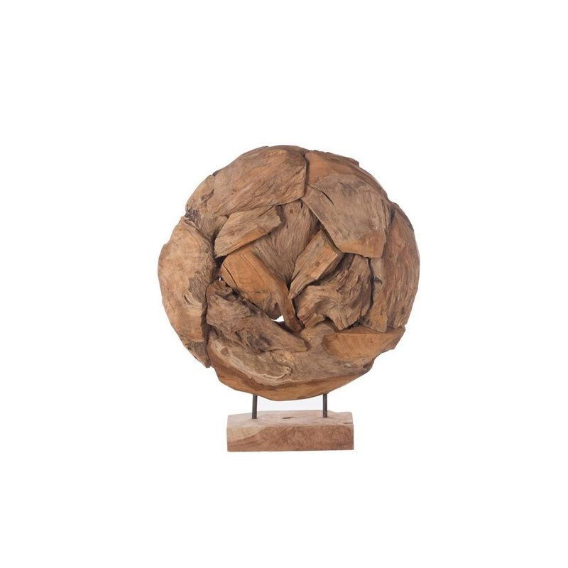 Sculpture fragment en teck sur pied H 59cm