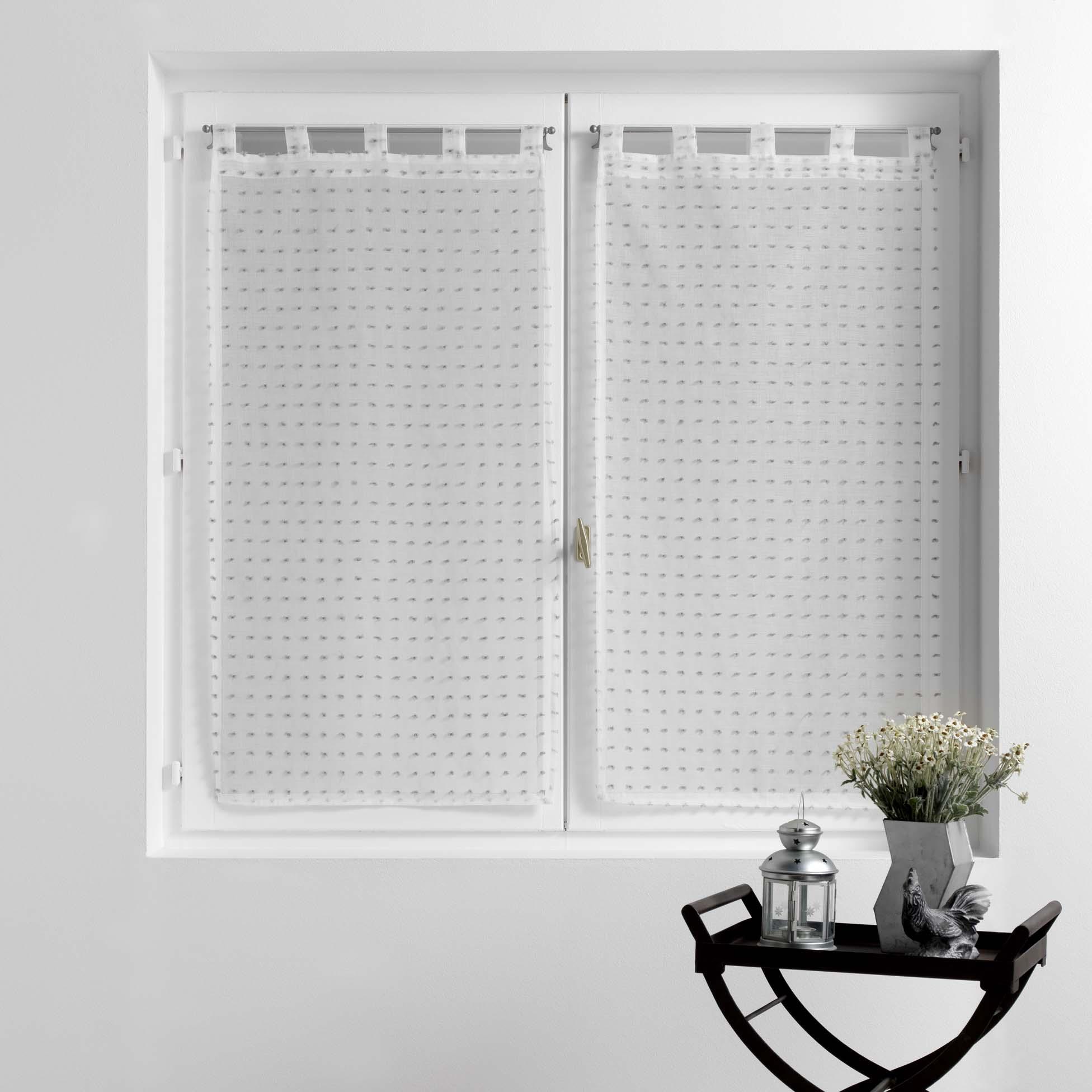 Vitrages droits à petits pompons polyester blanc/gris 120x60