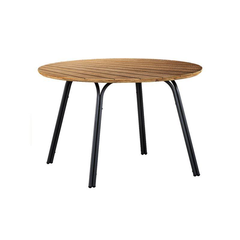 Table ronde extérieur acier et bois d'eucalyptus D120cm