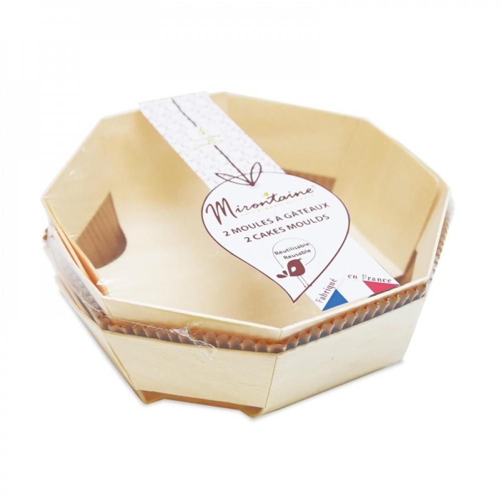 Moule à gâteau réutilisables en bois D18cm - Lot de 2