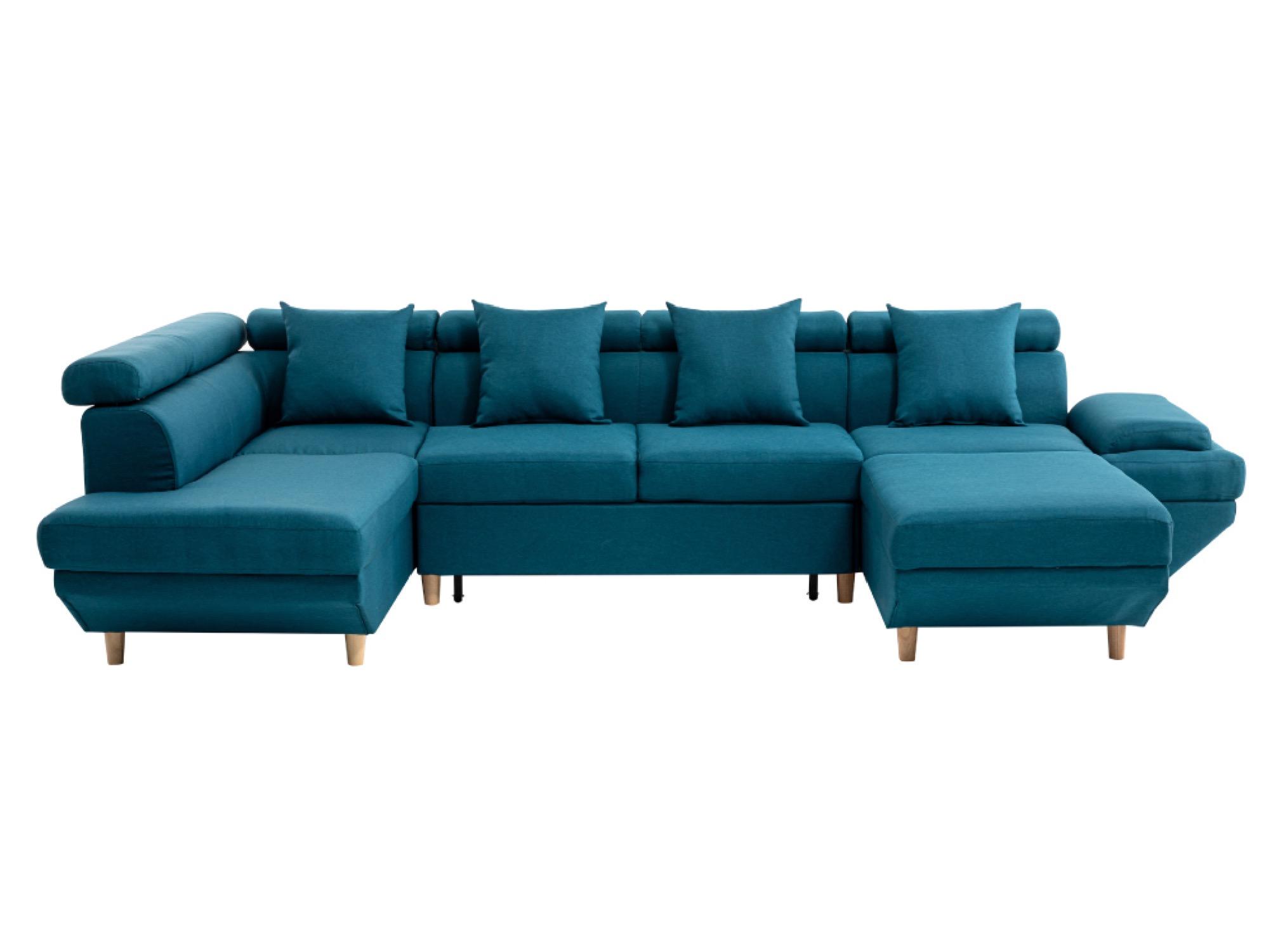 Canapé d'angle 6 places Bleu Tissu Design Confort