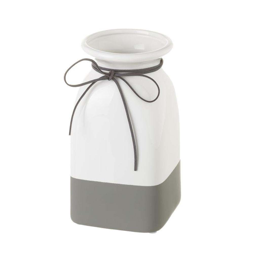 Vase blanc et gris H21cm