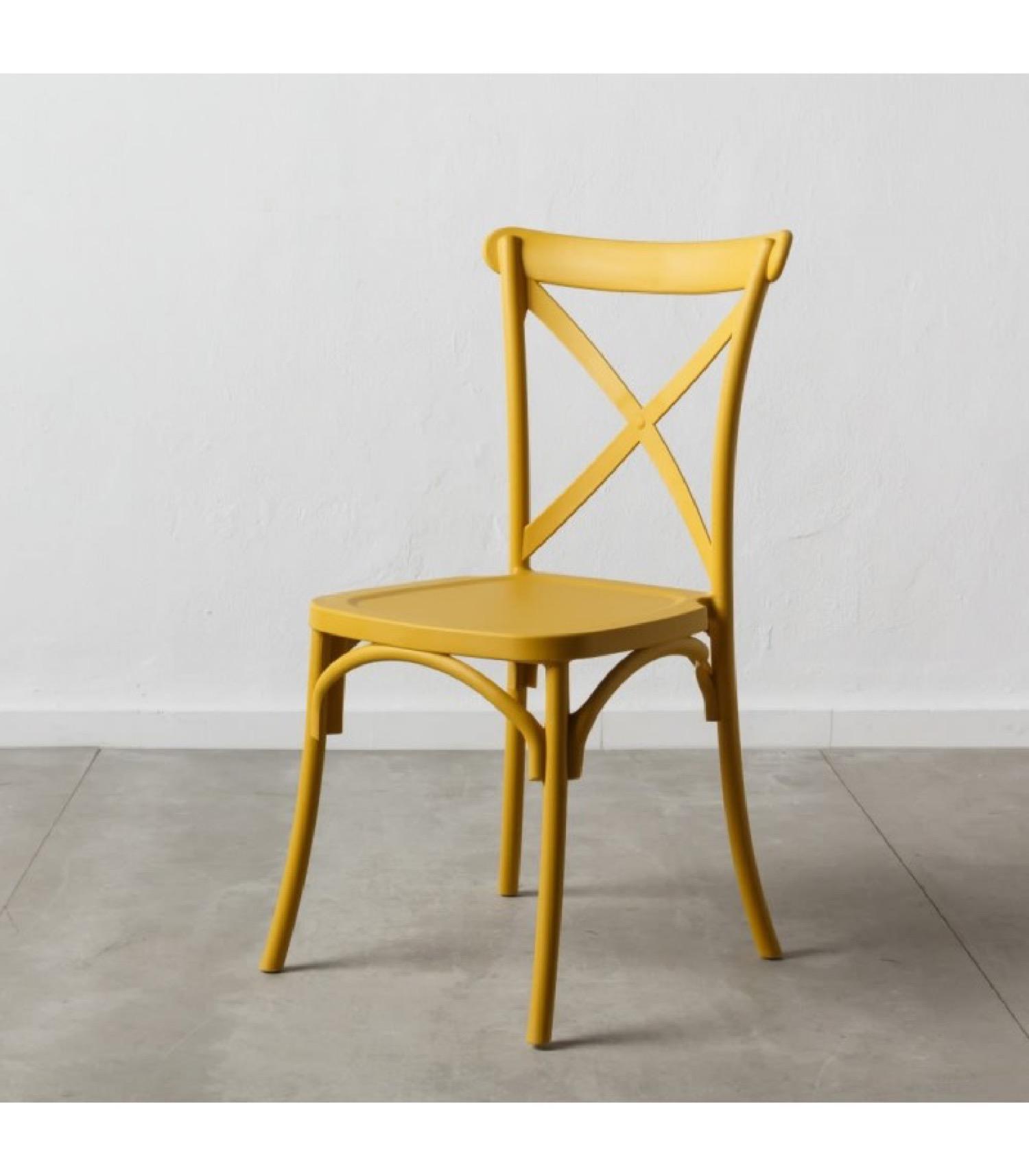 Chaise bistrot en polypropylène jaune