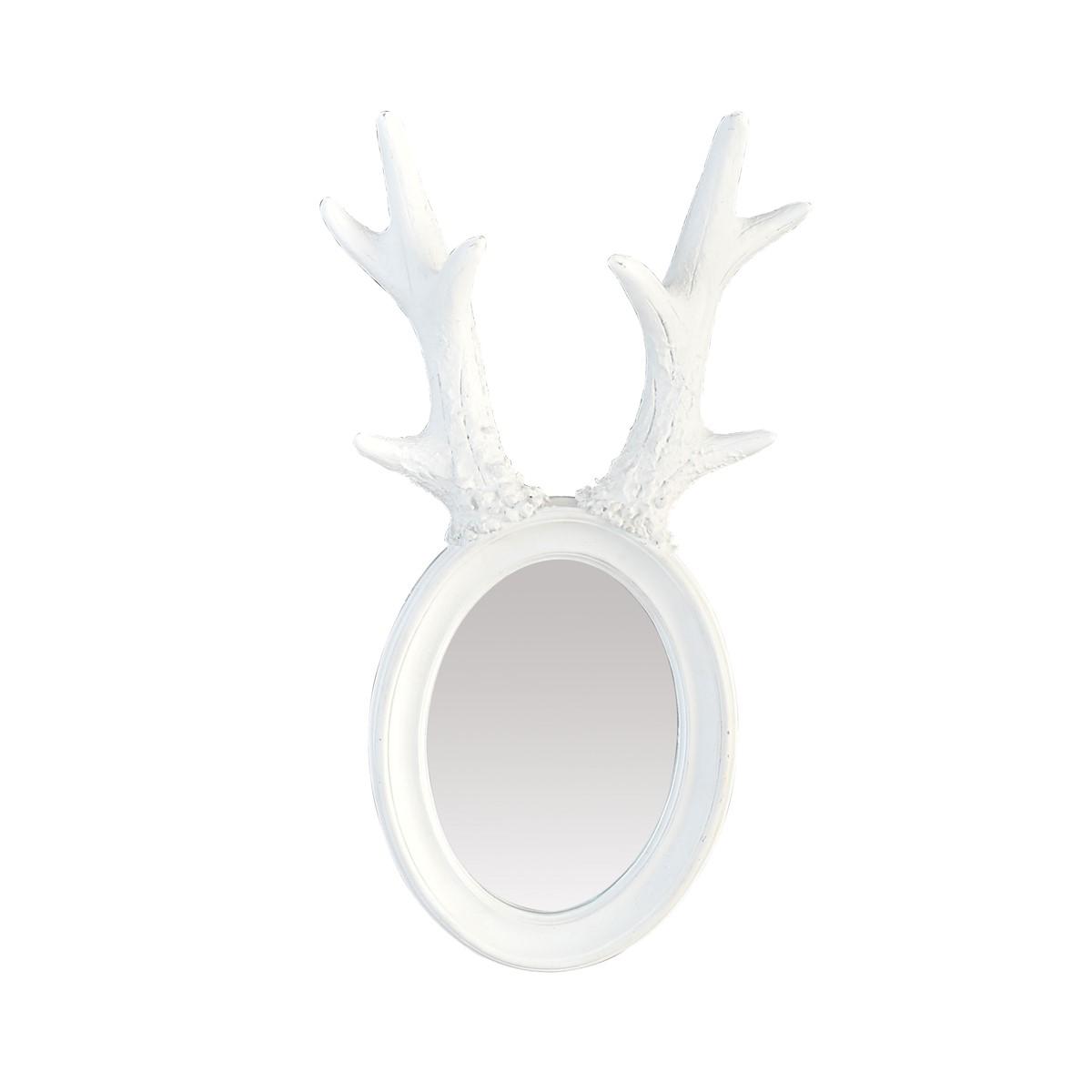 Miroir à cornes de cerf en résine blanche