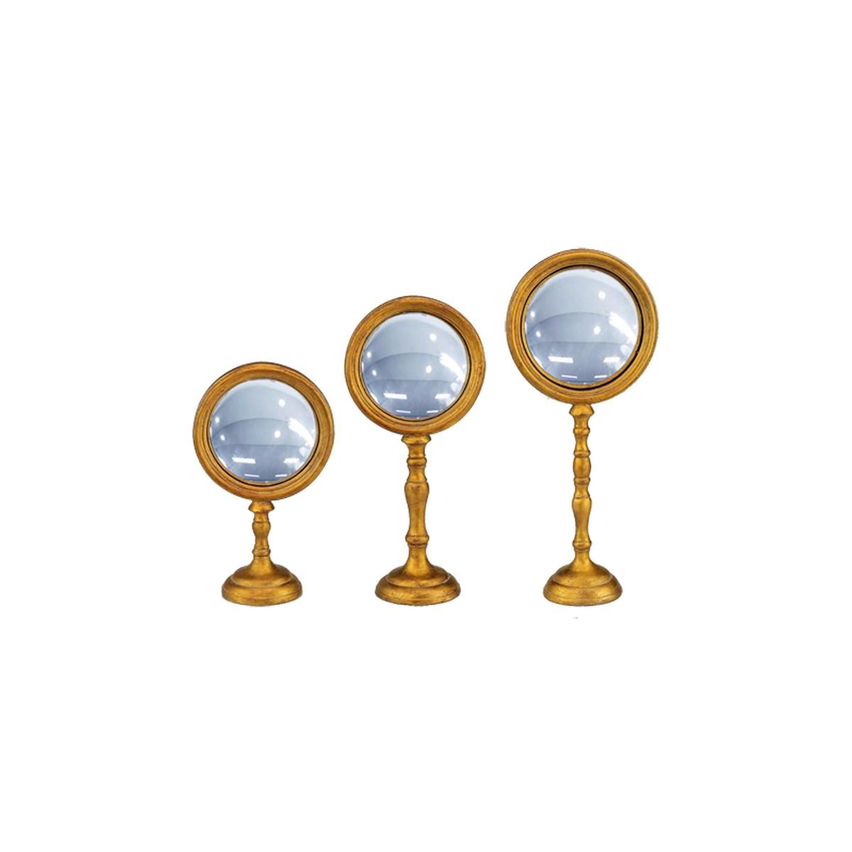 Lot de 3 miroirs convexes sur pied en résine dorée
