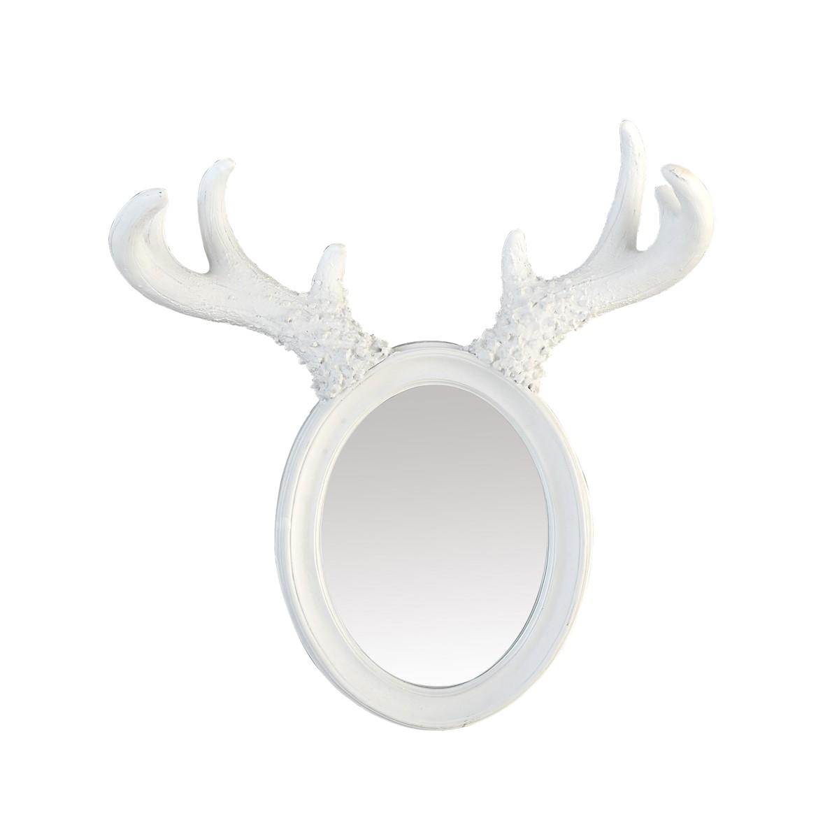 Miroir à cornes d'élan en résine blanche