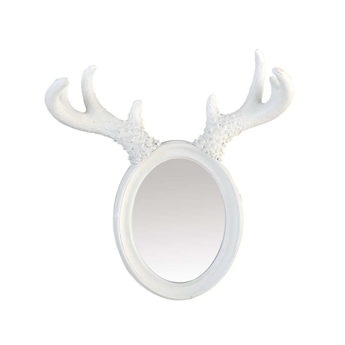 Miroir à cornes d'élan en résine blanche H36