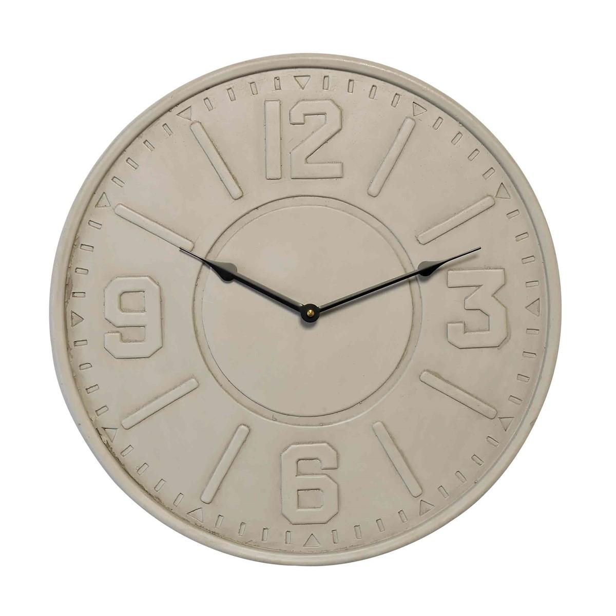 Horloge murale beton et plâtre beige D46