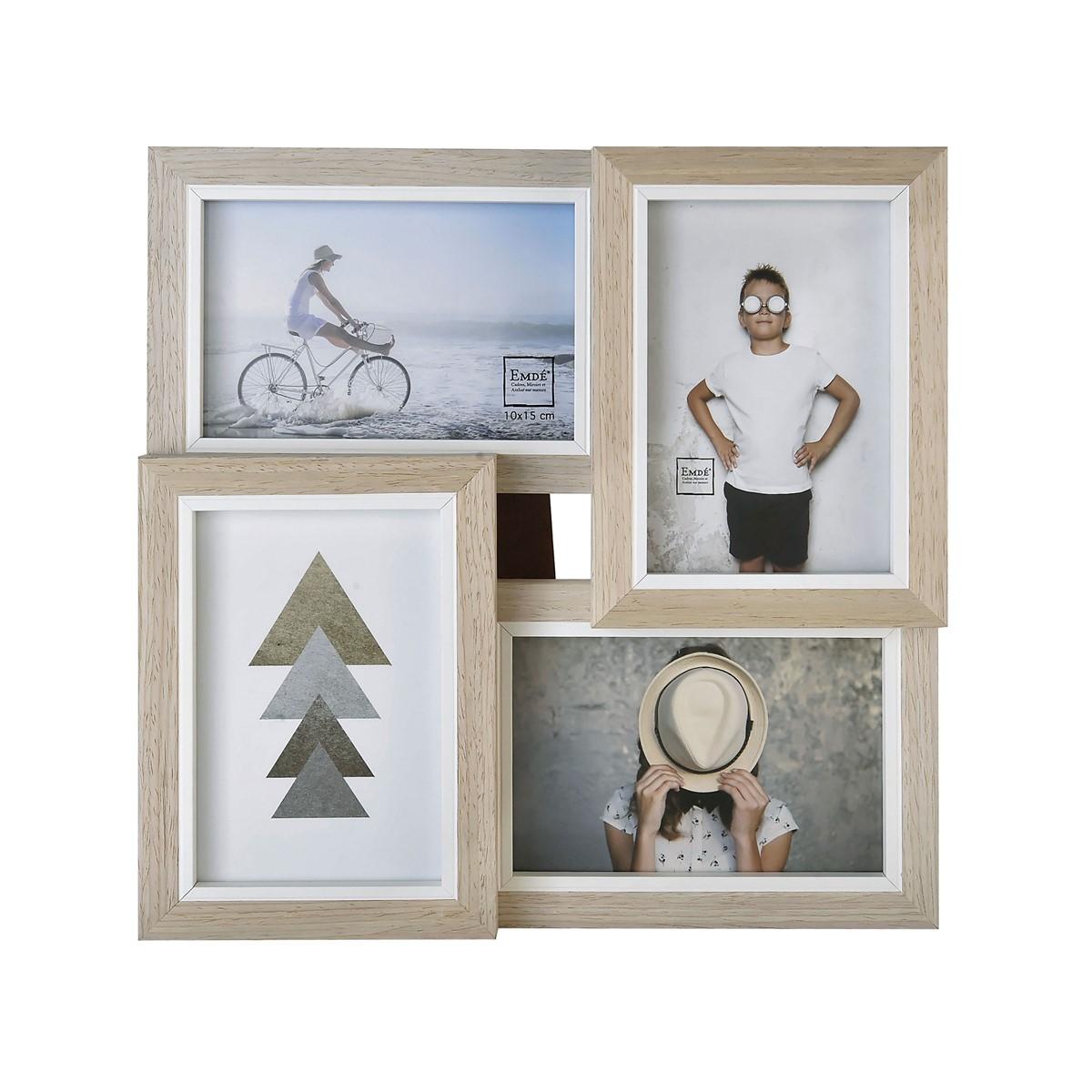 Cadre multivues liserés 4 photos en bois blanc 10x15