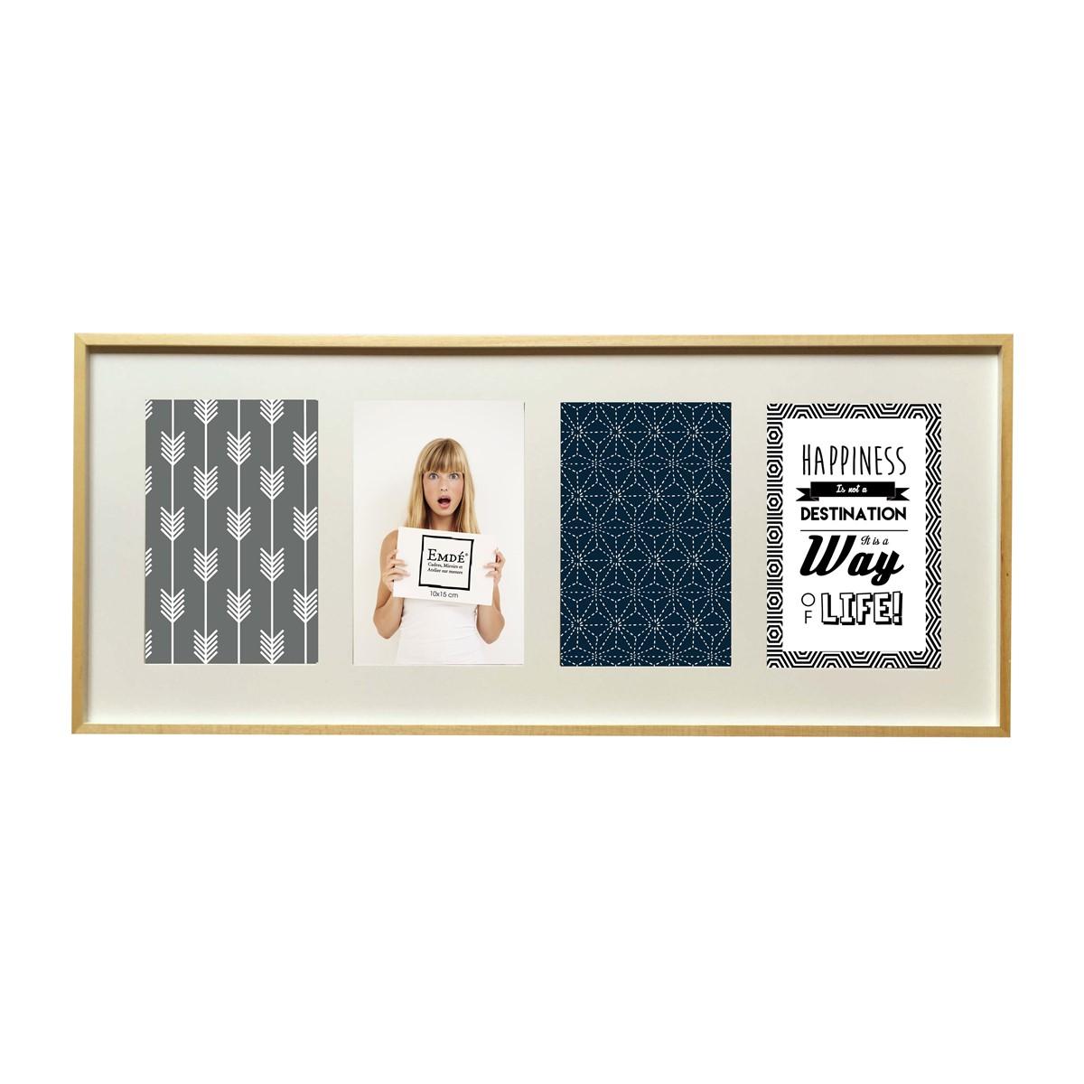 Cadre multivues élégant 4 photos en bois blanc 49x21